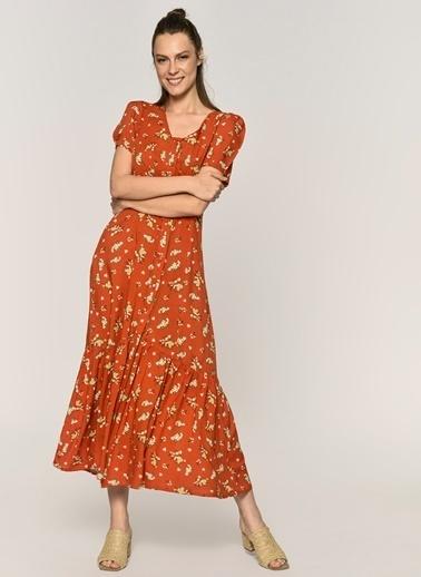 Loves You Desenli Viskon Emprime Elbise Kiremit